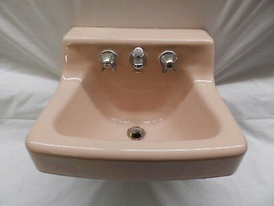 Small Vtg Standard Lite Pink Porcelain Cast Iron Shelf Top Bathroom Sink 4450-15