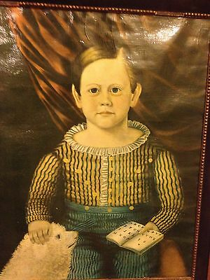 Outstanding! Fabulous Charming Oil Folk Art Painting On Canvas Boy with Dog
