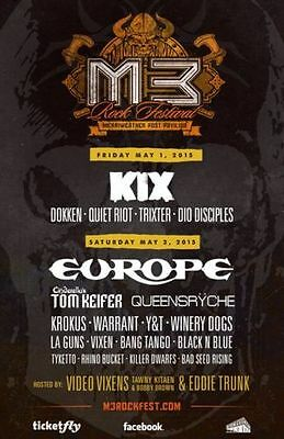 ONE (1) M3 Rock Festival ticket - FRIDAY NIGHT ONLY - VIP Pass - Center Sc Row Q