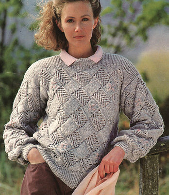 "Womans Squared Blocks  Entrelac Sweater DK  29"" - 43"" Knitting Pattern"