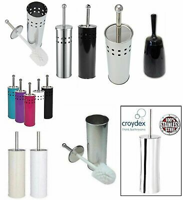Toilet Brush With Holder Plastic / Stainless Steel Bathroom Loo Cleaning New
