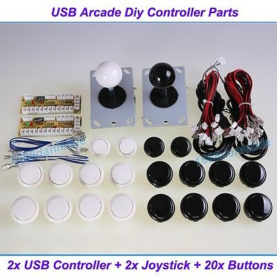 Arcade DIY Parts 2x USB Encoder To PC + 2x Joystick + 20x Push Button For MAME