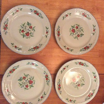 4 TABLETOPS UNLIMITED SUSANA PATTERN STRAWBERRY STONEWARE DINNER PLATES