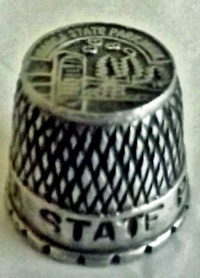 """ITASCA STATE PARK pewter thimble approx 3/4"""" tall  EUC"""