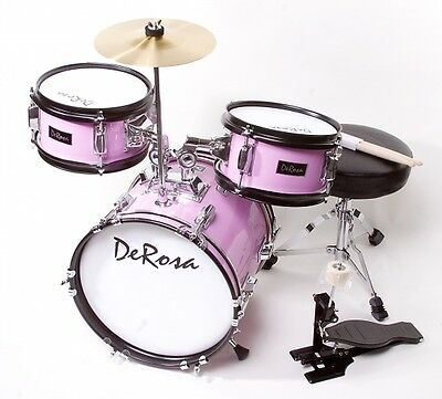 """3PC PINK Drum Set Starter Band 12"""" Great Gift KIDS Learn To Play 2-5 Year Old"""
