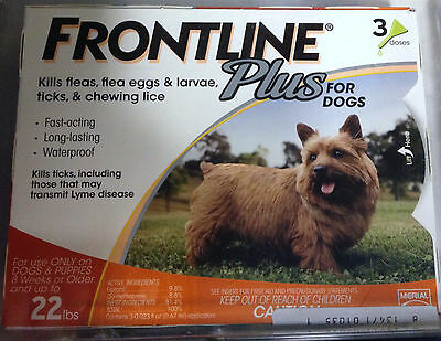 Frontline Plus For Dogs 0-22 lbs- 18 Monthly Doses ~Save Huge $$$!