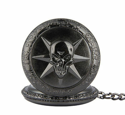 Antique devil Skull cross fire black steampunk  pocket watch with fob chain
