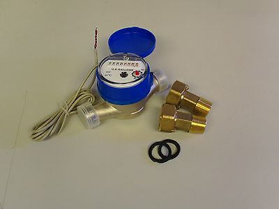 """Single-Jet Super Dry Cold Water Meter with 5/8"""" x 3/4"""" couplings FREE S&H"""