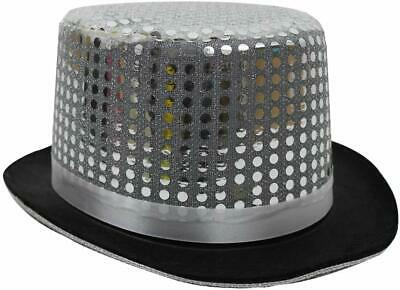cf55241a1a6 Silver Sequin Top Hat Cabaret Circus Ringmaster Fancy Dress Costume  Accessory
