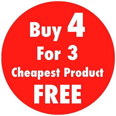'Buy 4 For 3' Sale / Promotional Price Stickers Sticky Labels 4 Sizes Available