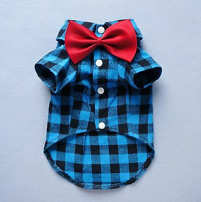 "S 14""Chest Handsome Bow Tie Dog Shirt Small Pet Clothes Cotton Polo Cat Sweater"