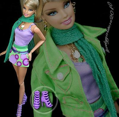 Fashion outfit clothes /coat  /shoes+ necklace earrings for Barbie doll #703