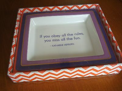 "KATHARINE HEPBURN WISE SAYING, QUOTE TRAY DISH - ""IF YOU OBEY ALL THE RULES"""