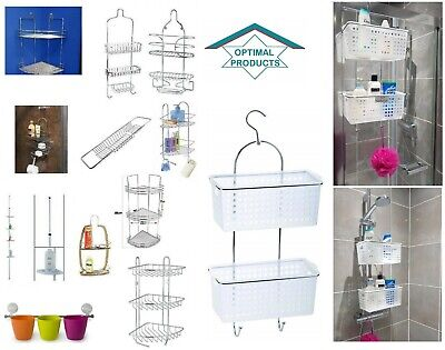 Shower Caddy Bathroom Chrome Bamboo Shelf Over Bath Tub Rack Storage Extendable