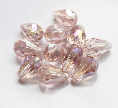 20pcs 8x12mm Faceted glass crystal Charm Finding Loose Spacer Teardrop beads B33