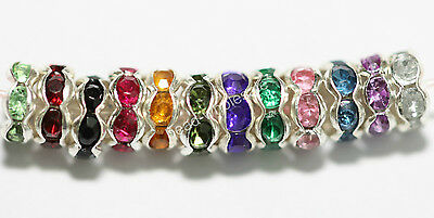100pcs Lots New Mixed Color Rondelle Acrylic Crystal Rhinestone Beads Spacer 6mm