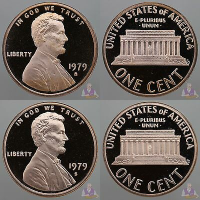 1979 S Lincoln Cent Type 1 & Type 2 Clear S Gem Deep Cameo Proof 2 Coins
