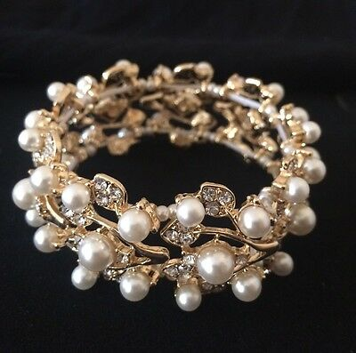 Gold Bridal Wedding Luxury Adjustable Crystal Pearl Bracelet Jewellery