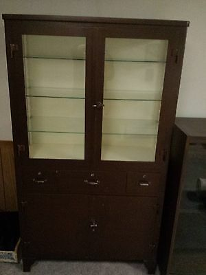 ANTIQUE DOCTOR MEDICAL DENTAL APOTHECARY INDUSTRIAL METAL CABINET GLASS SIDES