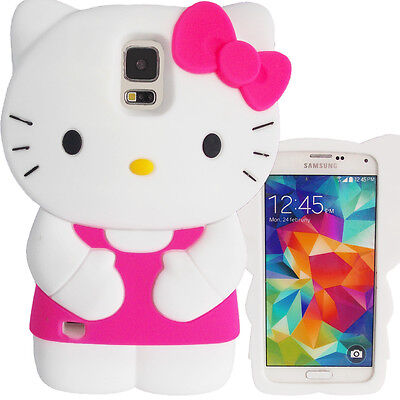3D Hot Pink Dress Bow Hello Kitty Case for Samsung Galaxy S5 Cute Silcone Cover