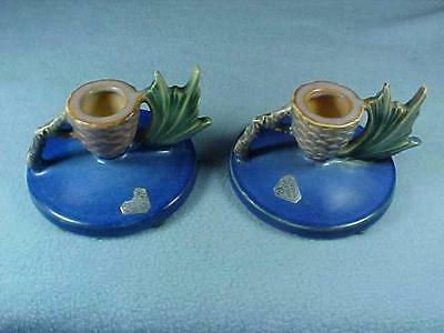 Beautiful Antique PAIR ROSEVILLE POTTERY PINECONE BLUE CANDLE HOLDERS 1123