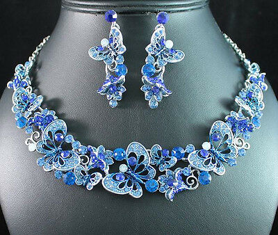 BUTTERFLY BLUE AUSTRIAN RHINESTONE CRYSTAL NECKLACE EARRINGS SET BRIDAL N1689B