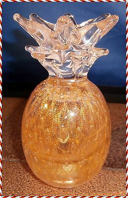 Pineapple Decorative Heavy Glass Paper Weight With Gold Trim