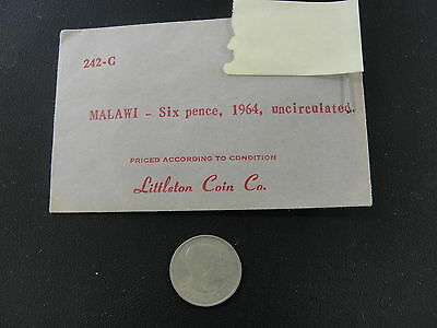1964 Malawi 6 Pence Coin UNC Littleton Coin Co. Old Store Stock