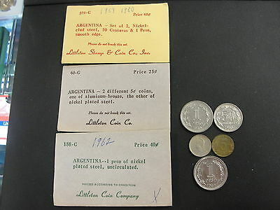 5 Argentina Coins Littleton Coin Co. Old Store Stock See Description for List
