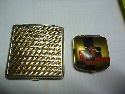 Vintage Pair of Metal Beauty Compacts Palmer Fiesta Square and Mirror one too !