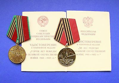 Soviet Russian Medals 40 & 50 Years Of The Victory In Great Patriotic War +Docs