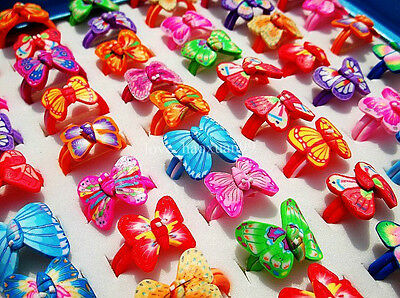 FREE wholesale Lots 20Pcs Assorted Butterfly FIMO Polymer Clay Children's Rings