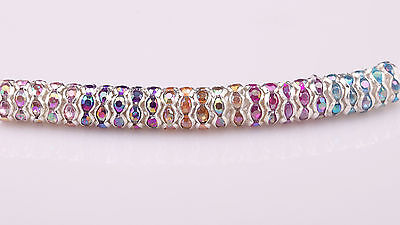 100pcs 8mm Mixed AB Color Rhinestone Crystal Silver Spacer Spacers Loose Beads