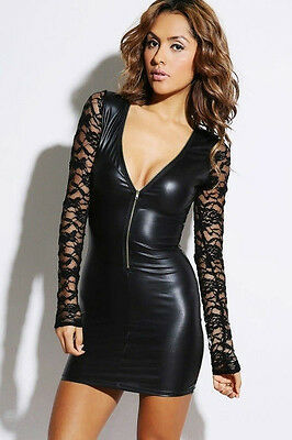 Dress Faux Leather Small Sexy Long Sleeve Lace Zipper Liquid Black Mini Club New