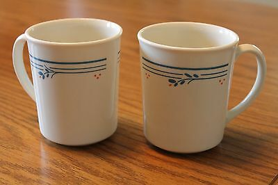 """Corning Ware Corelle """"Country Violets""""  Coffee Cups Mugs Set of 2 - used"""