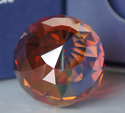 Swarovski  SPECIAL COLOR (ORANGE COATED) BALL PAPERWEIGHT 40 mm   BOXED