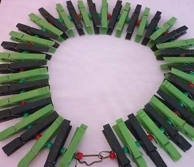 Hand Made Christmas Wreath Wooden Clothes Pins GREEN