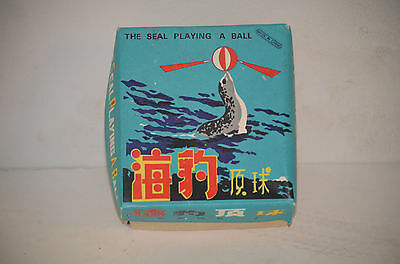 Vintage Japan Wind Up Toy Seal Playing A Ball with Box & Key