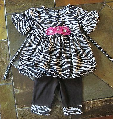 Girls boutique outfit size 3 6 months baby shirt pants set pink black zebra