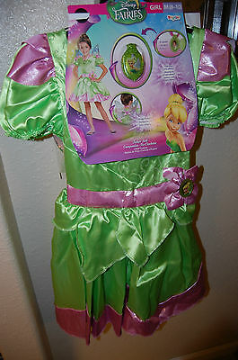GIRLS DISNEY FAIRIES TINKERBELL  M 8-10 COSTUME DRESS UP WITH LOCKET AND WINGS