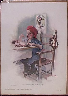 """1976 CREAM OF WHEAT """"RIGHT OVER THE HOME PLATE"""" ADVERTISING PRINT 10 X 14 NEW"""