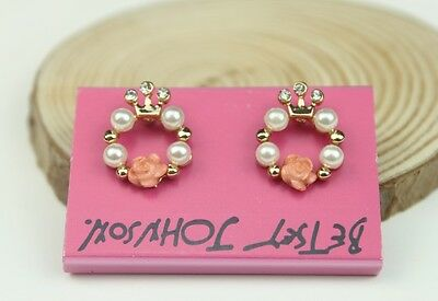 Free shipping Betsey Johnson Resin Rose Pearl Crystal Crown earrings E148