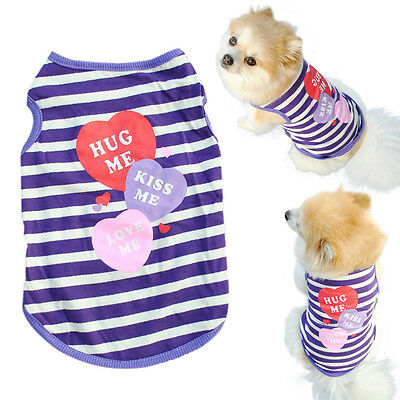 Fashion Pet Puppy Summer Shirt Small Dog Cat Pet Clothes Stripe Vest T Shirt S