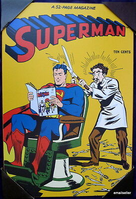 SUPERMAN #38 1946 Wooden Wall Art Poster Battle of the Atoms DC Comics Barber