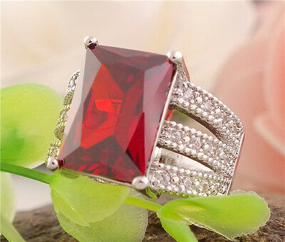 Gorgeous 1pc 925 sterling silver red gemstone women's ring Size 8