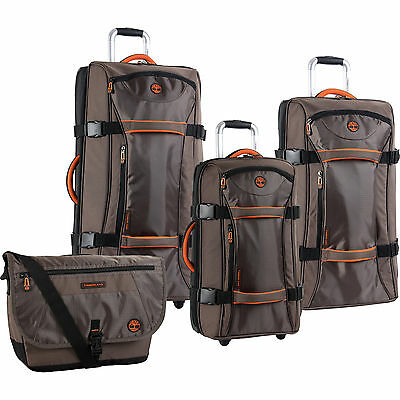 TIMBERLAND TWIN MOUNTAIN COCOA ORANGE 4 PIECE LUGGAGE SET $1240 VALUE NEW