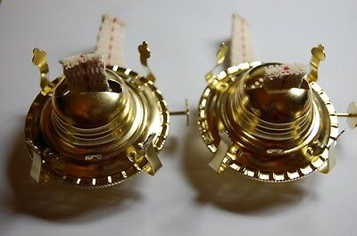 "PAIR (2) No2 #2. Brass Finish OIL LAMP BURNER & Collar & Wick CHIMNEY 3"" Opening"