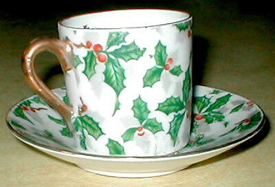 Holly & berry cup saucer.Vintage bone china by Inarco.BOX.Poinsettia arrangement