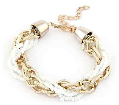 Cute White Beads Adjustable Twisted Gold Chain Statement Bracelet - SHIPS FAST!