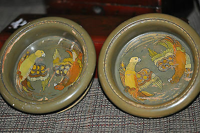Antique Asian Antique Wooden Decorative Art Bowls Green with Birds